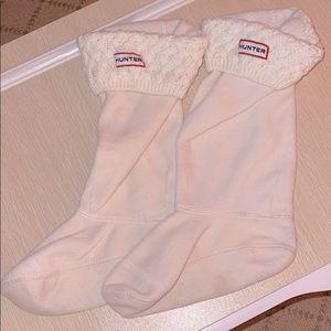 Hunter cream knit cuff boot socks - M